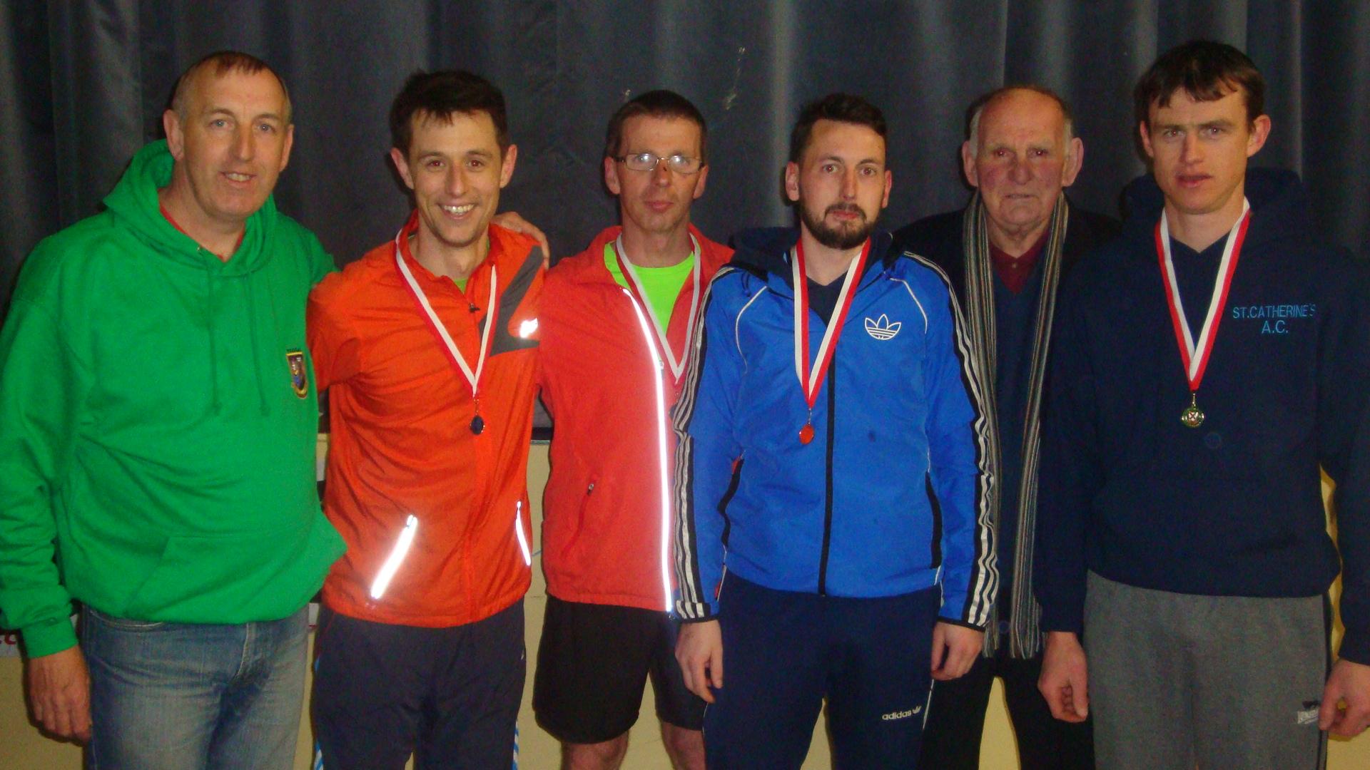 Martin Drake, Mike Byrne, Kevin Hayes, Alan Carr, Dan McCarthy and John Beecher. St. Catherine's winning Mens team at East Cork Road Race in Ballynoe
